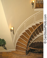 1, -, luxus, treppenaufgang