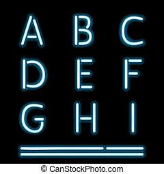 1, luz, néon, alfabeto