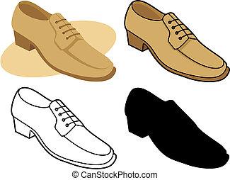 1, mâle, chaussure, vecteur