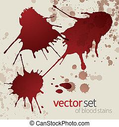 1, macchie, set, splattered, sangue
