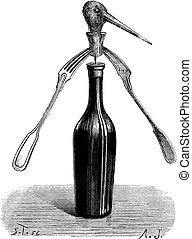 1., magische truc, engraving., vorken, vijg, draaibaar, ouderwetse