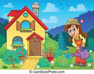 1, maison, jardinier