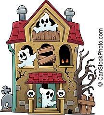 1, maison, thème, hanté, fantômes