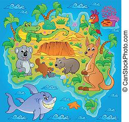 1, mapa, australiano, tema, imagem