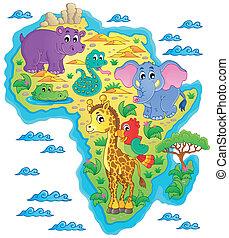1, mapa, tema,  África, imagem