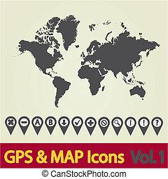 1, mappa mondo, icona