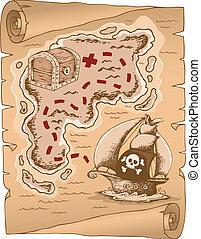 1, mappa, tesoro, pergamena