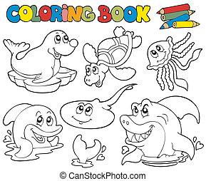 1, marina, colorido, animales, libro