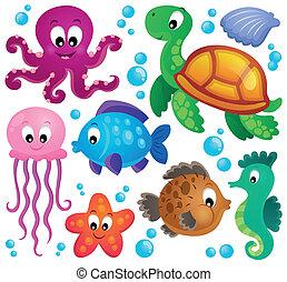1, marina, conjunto, animales, vario