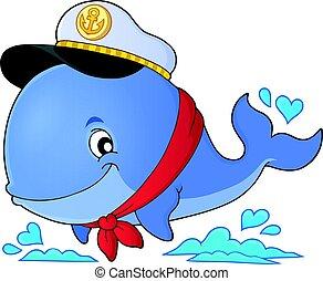 1, marinheiro, baleia, tema, imagem