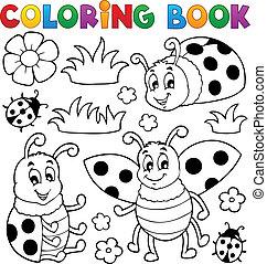 1, mariquita, tema, libro colorear