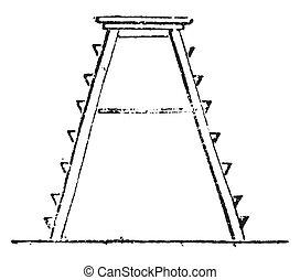 1. Mat, 2. Portico, 3. Plan gantry, 4. Tree Trunk, 5. Platform, 6. front view, 7. Large scale flat, 8. Horse, 9. Support, 10. Ladder, platform, vintag