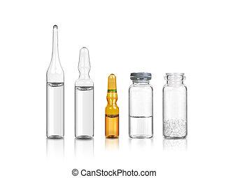 1, medicinsk, sæt, flasker, ampoules