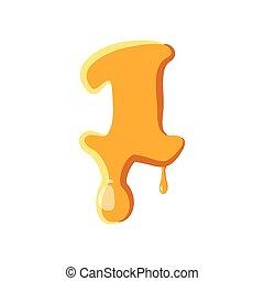 1, mel, número, ícone