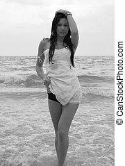 1, menina, mar negro