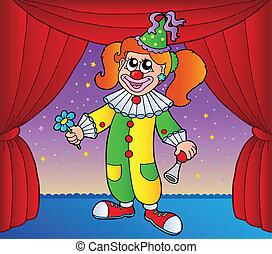 1, menina, palhaço circo, fase