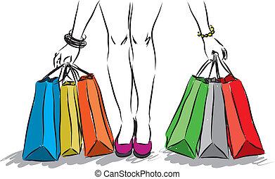 1, menina, shopping