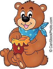 1, miód, wizerunek, temat, niedźwiedź
