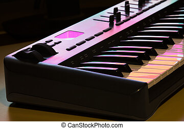 1, midi, detalje, klaviatur