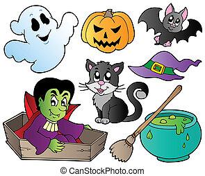 1, mignon, ensemble, halloween, dessins animés