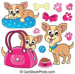1, mignon, thème, chien, image