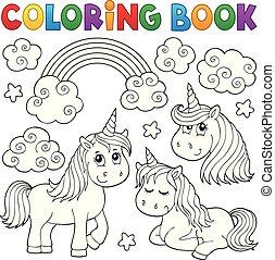 1, mignon, unicorns, livre coloration