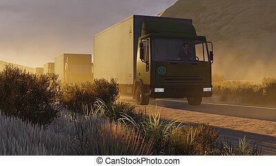 1, militaire, désert, route, motorcade