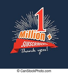 1 Million followers or subscribers achivement symbol design with ribbon and star for social media. Vector illustration.