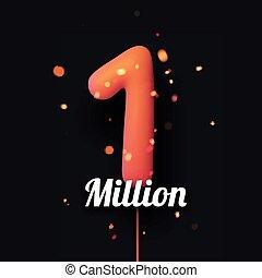 1 million sign orange balloons with threads on black ...