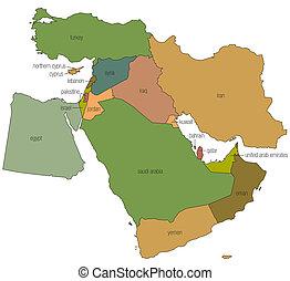 1, mittlerer osten, landkarte
