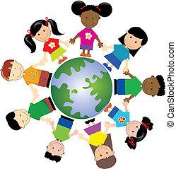 1, mondo, bambini