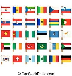 1, mondo, bandiera, set, icone