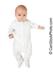 1 month baby in white onesie over white background