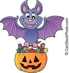 1, morcego, dia das bruxas, tema, imagem