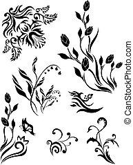 1, motieven, set, floral, vector