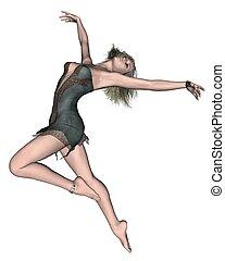 1, mujer, -, bailando