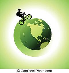 1, mundo, biking, alrededor