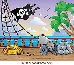 1, navio, convés, tema, pirata
