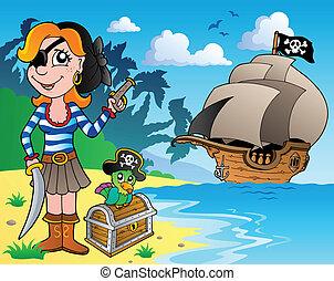 1, niña, pirata, costa