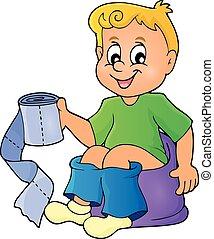 1, niño, imagen, tema, potty
