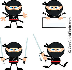 1, ninja, boos, verzameling, strijder