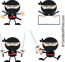 1, ninja, enojado, colección, guerrero