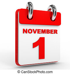 1 november calendar on white background.
