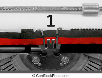 1 Number by the old typewriter on white paper