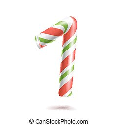 1, Number One Vector. 3D Number Sign. Figure 1 In Christmas Colours. Red, White, Green Striped. Classic Xmas Mint Hard Candy Cane. New Year Design. Isolated On White Illustration