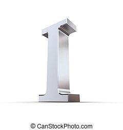 1, numeral, romana, metálico