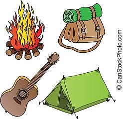 1, objetos, campamento, colección