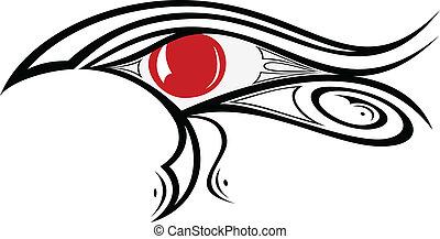 1, olho, ra, egípcio