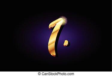 1 one number numeral digit golden 3d logo icon design