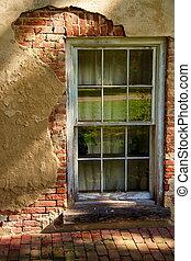 1, op, baksteen, stucco